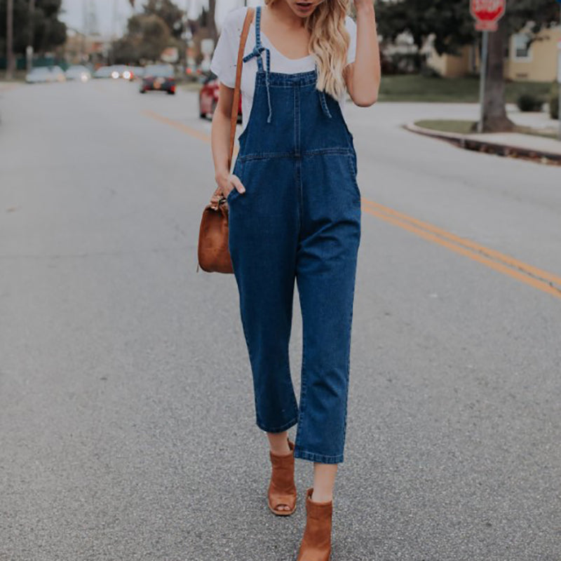 Patch Pocket Overall Plain Jeans