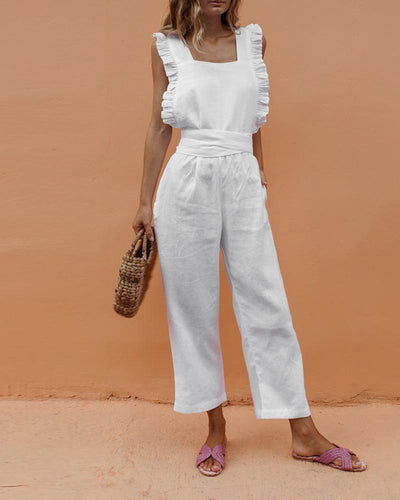 Sexy Backless Sleeveless Linen Jumpsuit
