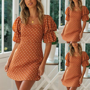 Square Collar Puff Sleeve Dress