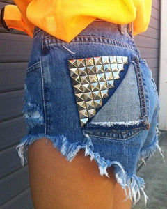 Studded High Waist Sexy Short Jeans