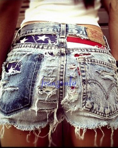 Torn High Waist Fashion Denim Shorts