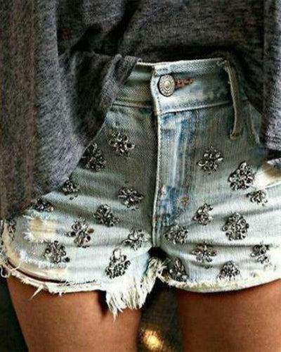 High-Waist Washed Woman's Denim Shorts