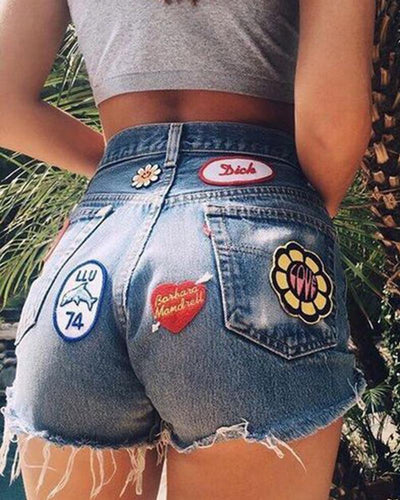 Badge High Waist Sexy Short Jeans