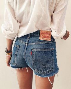 Pure-Color High-Waisted Frayed Trim Jeans