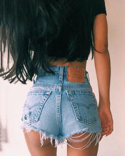 Pure Color High Waist Frayed Trim Jeans