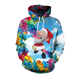 3d Santa Claus printed hooded sweater BJ-14