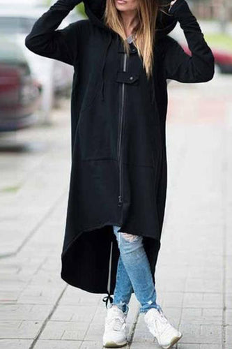 Hooded Long Sleeve Loose Zipper Asymmetrical Hem Coats