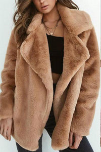 Fashion Lapel Plain Long Sleeve Thick Coat