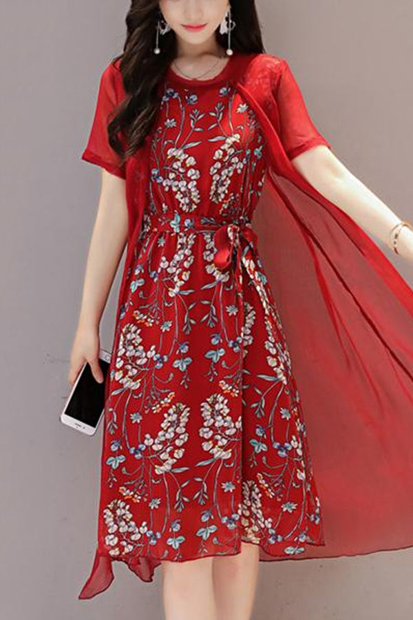 Round Neck Two-Piece  Printed Maxi Dress