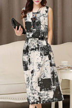 Round Neck  Elastic Waist  Tie/Dye Maxi Dress