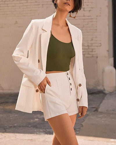 Solid Color Double-Breasted Blazer