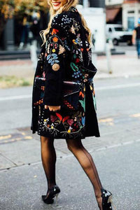 Fashion Flower Printed Lapel Collar Loose Coat