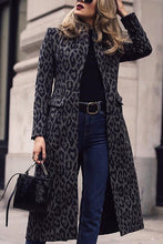 Fashion Leopard Print Long Sleeve Trench Coats