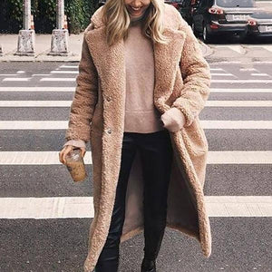 Women Winter Lapel Plush Long Coat