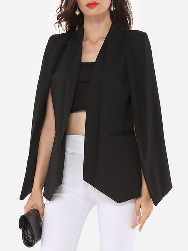 Narrow Notch Lapel Plain Cape Sleeve Blazer