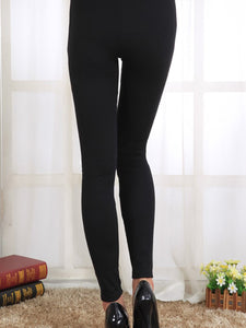 See-Through  Leather-Trimmed  Embroidery Leggings