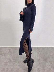 Sexy High Collar Long Sleeves Plain Bodycon Dress Maxi Dress