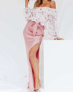 Side Slit  Belt  Plain Skirts