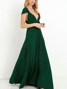 Deep V-Neck  Cutout Patchwork  Plain Evening Dresses