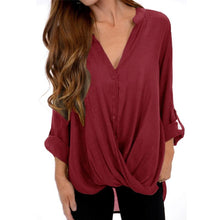 V Neck  Single Breasted  Patchwork Plain Blouses