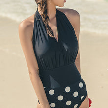 Halter  Patchwork  Plain Polka Dot One Piece