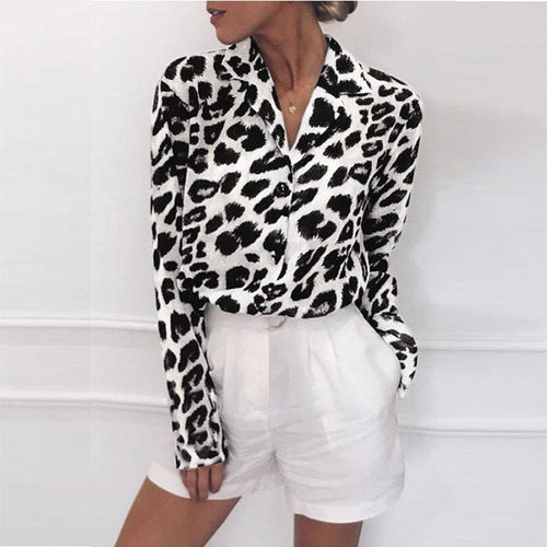 Turn Down Collar  Single Breasted  Leopard  Blouses