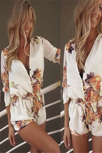 V-Neck Flower Print Shorts Jumpsuit