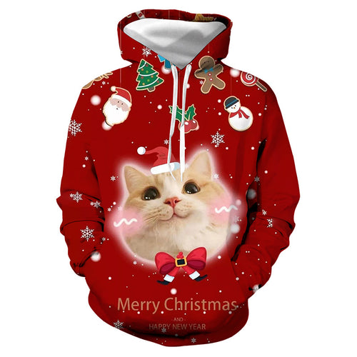 3d Christmas cat print hooded sweater BJ-14
