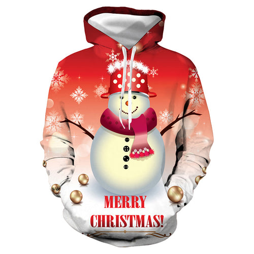 3D christmas snowman print hooded sweater BJ-14