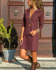 Temperament Solid Color High Waist Lapel Long Sleeve Dress
