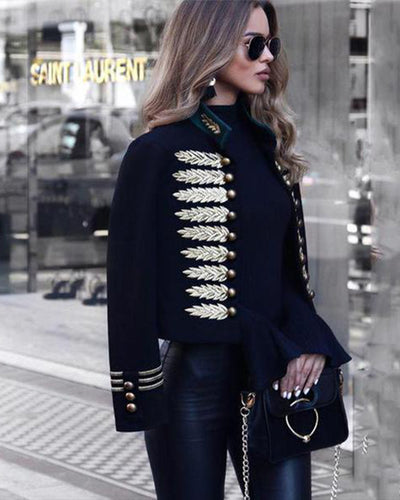 Fashion Inwrought Long   Sleeve Coat