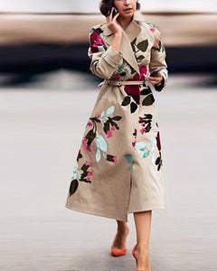 Fashionable Belted Print Trench Coat