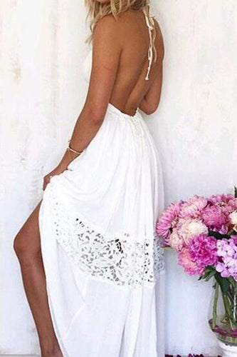 Halter  Backless  Hollow Out Plain  Sleeveless Maxi Dresses
