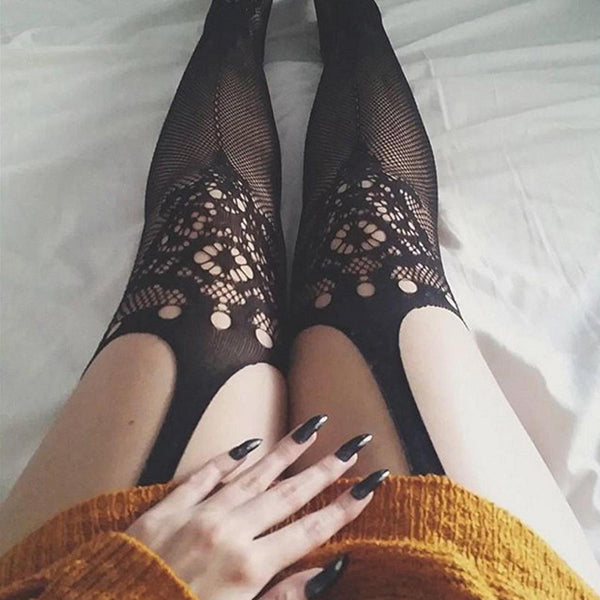 Black Lace Mesh Socks