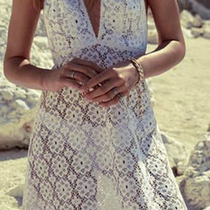 V-Neck  See-Through  Lace Tunic