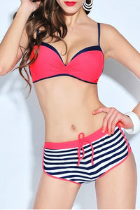 Spaghetti Strap  Plain Striped Bikini