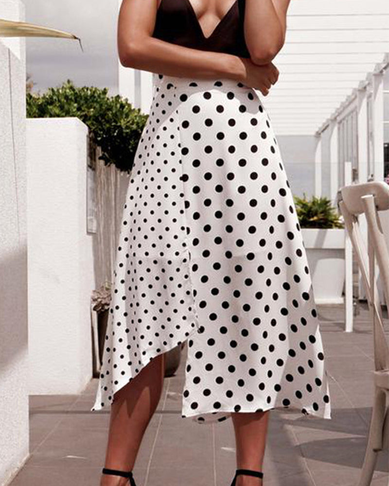 Patchwork Side Slit  Polka Dot Skirts
