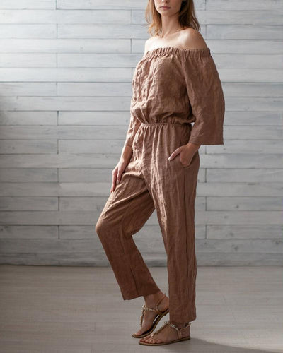 Sexy Off-The-Shoulder Belt Linen Jumpsuit