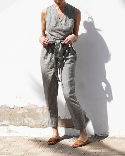 V-Neck Belt Linen Jumpsuit