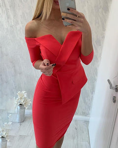 Off-The-Shoulder Fake Two-Piece Tube Top Bodycon Dress