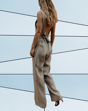 Square Collar Open Back Cross Strap Maxi Pants Jumpsuit