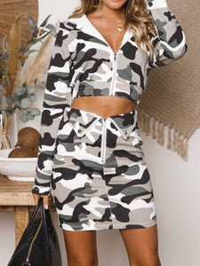 Hooded  Camouflage  Sweatshirts  Skirts