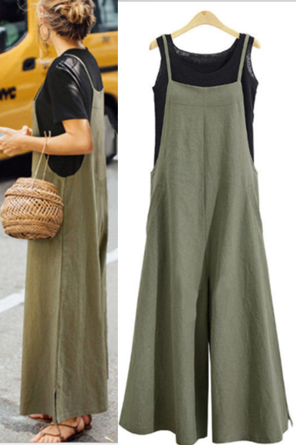 Linen Long And Wide Leg Jumpsuit Cotton Suspenders With Short Suspenders For Women Casual Loose Jumpsuit Skirt