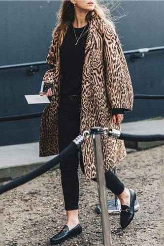 df2a5fc79c0e Elegant Stylish Loose Leopard Print Long Sleeve Coat Cardigan