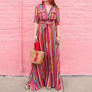 Button Down Collar Maxi Dress