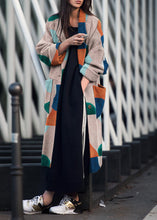 Fold Over Collar  Patchwork Outerwear