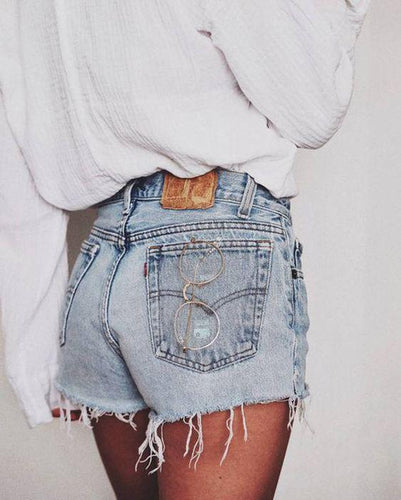 Casual Pure-Color High-Waisted Frayed Trim Jeans