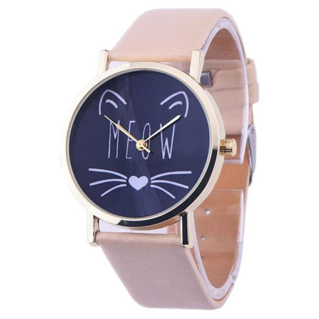 2017 New Watch Women Cat Pattern Womens Watches Quartz Wristwatches Female Quartz-watch Relogio Feminino 10 Colors