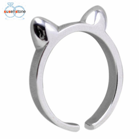 SUSENSTONE Attractive Girl Lady Cat Ears Alloy Rings Christmas Gifts