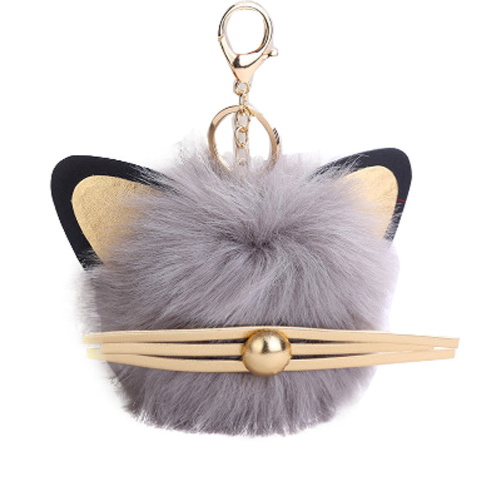 12CM Cute Cat Owl Keychain Pendant Women Key Ring Holder Pompoms Key Chains